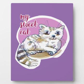 my sweet cat cartoon style illustration plaque