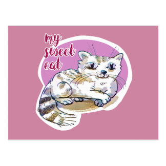 my sweet cat cartoon style illustration postcard