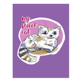 my sweet cat cartoon style illustration postcard