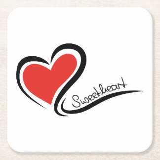My Sweetheart Valentine Square Paper Coaster