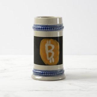 My take on Bitcoin logo stein 18 Oz Beer Stein