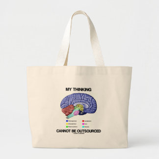 My Thinking Cannot Be Outsourced (Brain Anatomy) Large Tote Bag