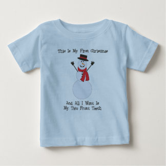 My two front teeth snowman baby shirt