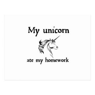 my unicorn ate my home work postcard