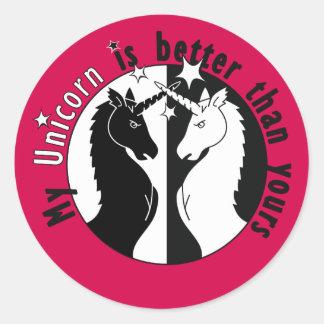 My Unicorn is Better Round Sticker