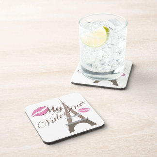 My Valentine - Eiffel Tower and Lips Coaster