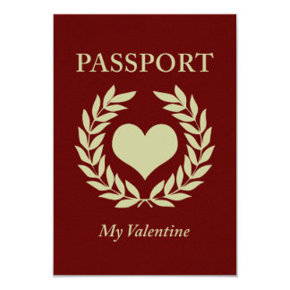 my valentine passport 9 cm x 13 cm invitation card
