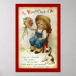 My Valentine Think Of Me Vintage Poster
