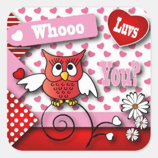 My Valentine, Whoo Luvs You Owl Square Sticker