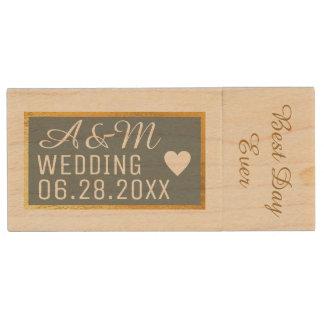 my wedding best photos wood USB flash drive