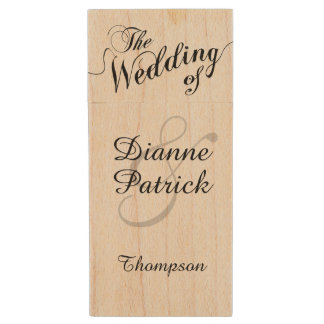 my wedding photos, monogram wood USB 2.0 flash drive
