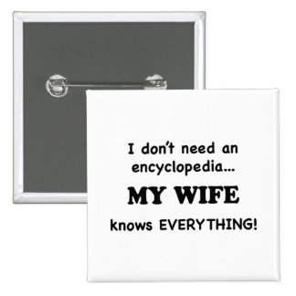 My Wife Knows Everything 15 Cm Square Badge