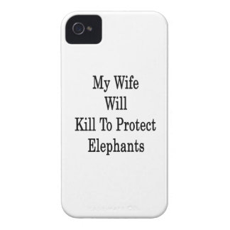 My Wife Will Kill To Protect Elephants iPhone 4 Case-Mate Cases