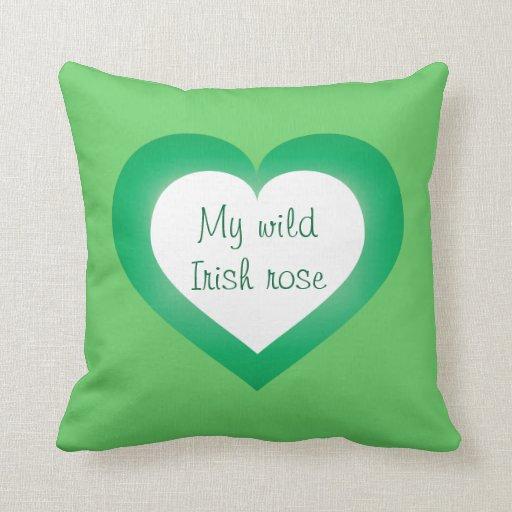 My Wild Irish Rose white and green heart Pillow