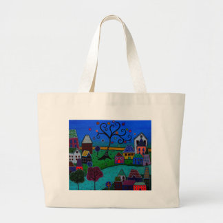 MY WONDERFUL WHIMSICAL TOWN LARGE TOTE BAG