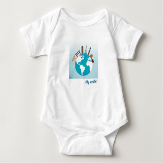 My World - famous monuments on globe! Wanderlust! Baby Bodysuit