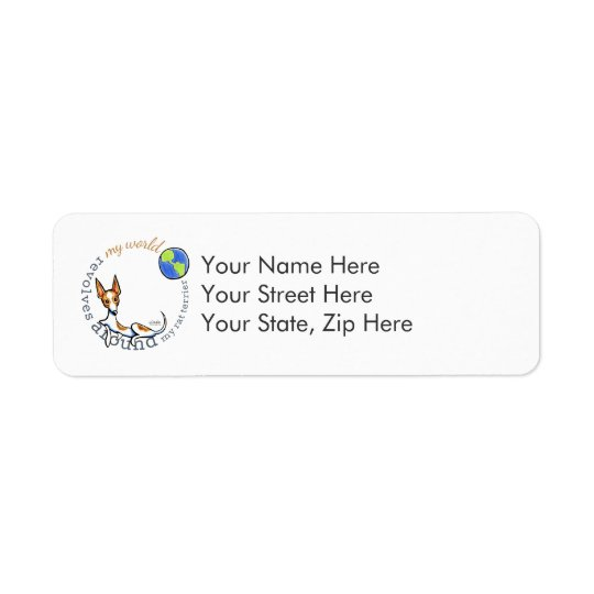 My World Red White Rat Terrier Return Address Label