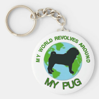 MY WORLD REVOLVES AROUND MY PUG BASIC ROUND BUTTON KEY RING