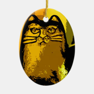 MY YELLOW CAT CERAMIC OVAL DECORATION