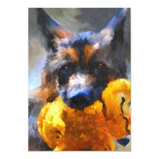 My Yellow Friend German Shepherd 5x7 Mini Prints 13 Cm X 18 Cm Invitation Card