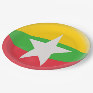 Myanmar Burma Burmese Flag Paper Plate