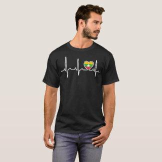 Myanmar Country Flag Heartbeat Pride Tshirt