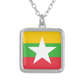 Myanmar Flag Silver Plated Necklace