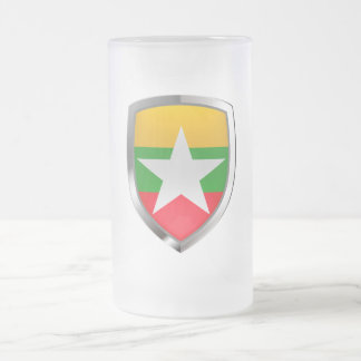 Myanmar Metallic Emblem Frosted Glass Beer Mug