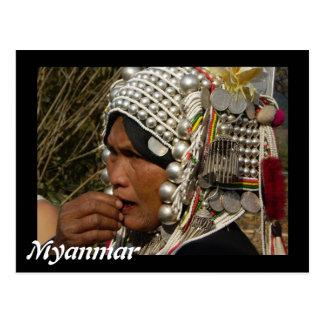 Myanmar woman postcard