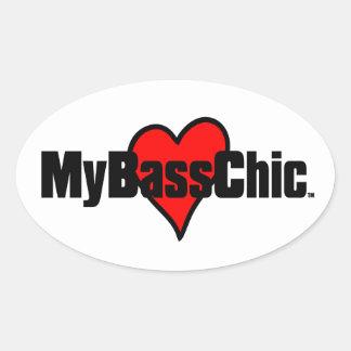 MyBassChic(tm) Crimson Heart Oval Sticker