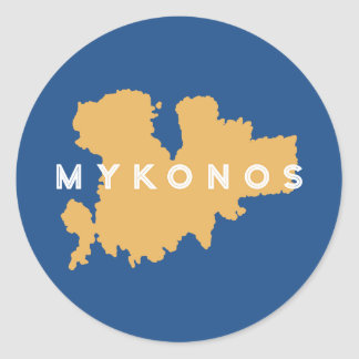 Mykonos Greece Silhouette Round Sticker