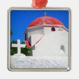 Mykonos, Greece Silver-Colored Square Decoration