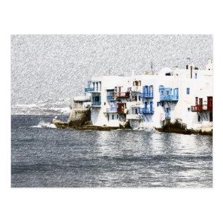 Mykonos, Greece waterfront buildings Postcard