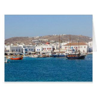 Mykonos Harbour, Greece Card