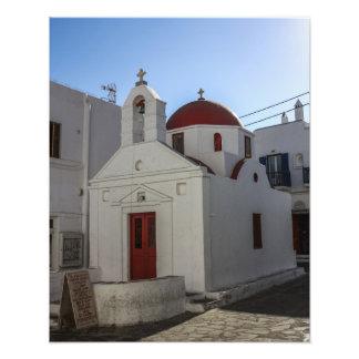 Mykonos Photos: Whitewashed Chapel with Red Roof Photo