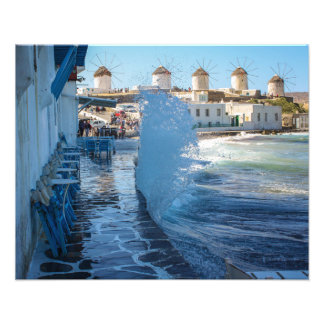 Mykonos Photos: Windmills and a Wall of Water Photo Print
