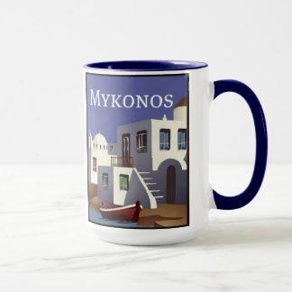 Mykonos set of 8 different mugs of Greece