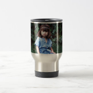 Mylune sitting in the grass travel mug