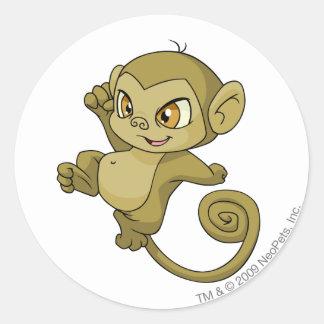 Mynci Brown Round Sticker