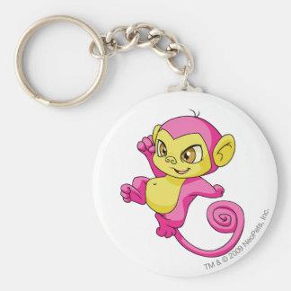 Mynci Pink Basic Round Button Key Ring