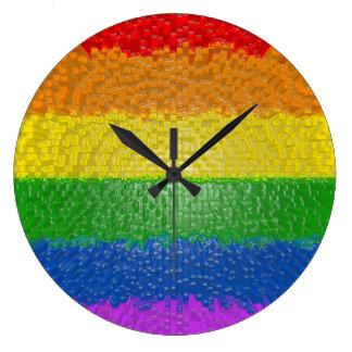 "MyPride365 - ""Textured Rainbow"" Acrylic Wall Clock"