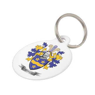 Myrick Family Crest Coat of Arms Pet Name Tag