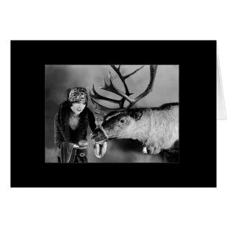 Myrna Loy With Christmas Reindeer Card
