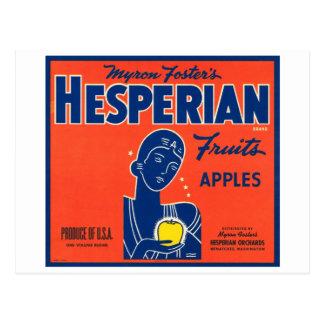 Myron Foster's Hesperian Fruits Apple Crate Labels Postcard