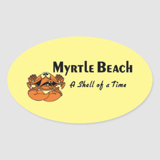 Myrtle Beach Crab Oval Sticker