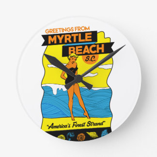Myrtle Beach Postcard Round Clock