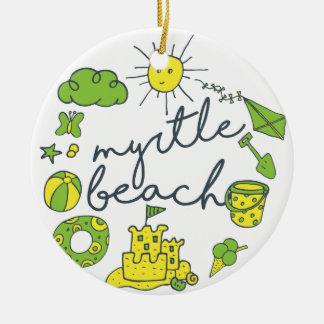 Myrtle Beach Script Ceramic Ornament