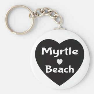 Myrtle Beach South Carolina Heart Black Keychain