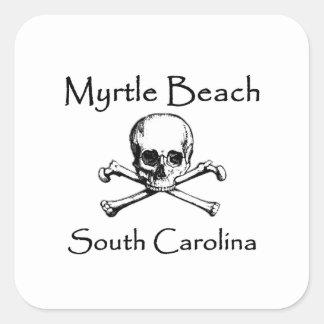 Myrtle Beach South Carolina Jolly Roger Square Sticker