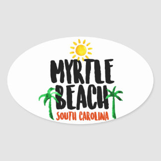 Myrtle Beach Watercolor Oval Sticker
